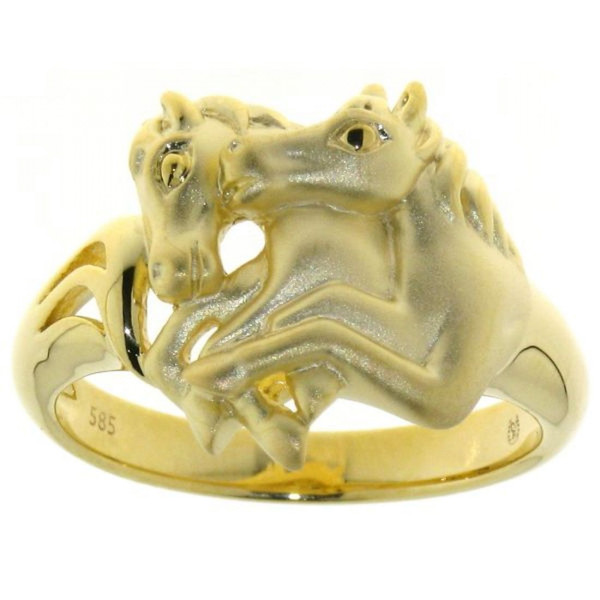 Ring 2 springende Pferde mattiert - poliert