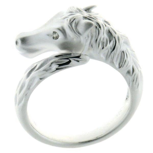 Ring Pferdekopf am Schweif massiv echt Silber mit Zirkonia Auge mattiert-poliert
