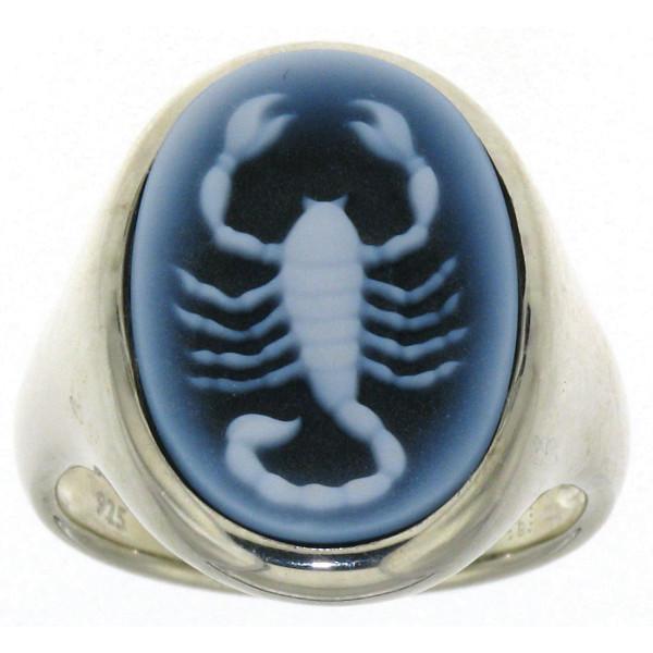 Ring Gemme Achat 18 x 13 mm Sternzeichen Skorpion Kamee