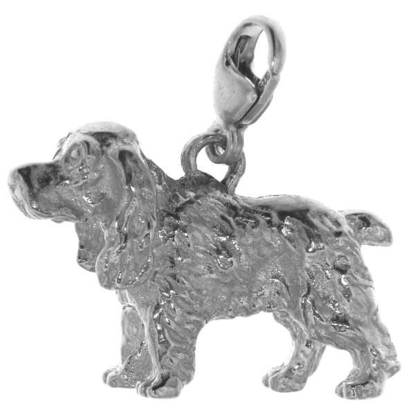 Charm Cocker Spaniel Hunderasse schwer massiv echt Silber