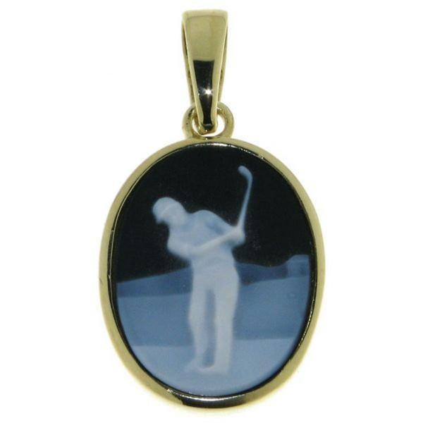 Anhänger Gemme Achat Golfspieler Golfsport 16 x 12 mm Kamee