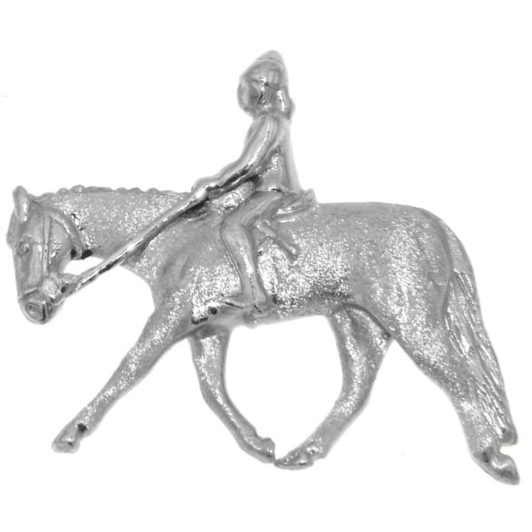 Anhänger Reiter auf Pferd mittelgroß mattiert-poliert echt Silber