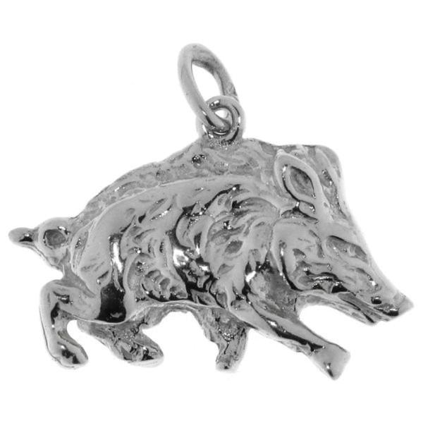 Anhänger Wildschwein Wildsau Keiler schwer massiv echt Silber