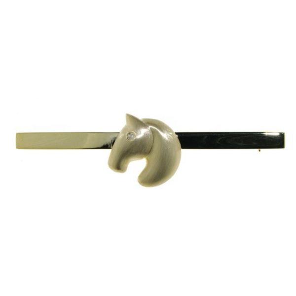 Plastronnadel moderner Pferdekopf echt Silber goldplattiert