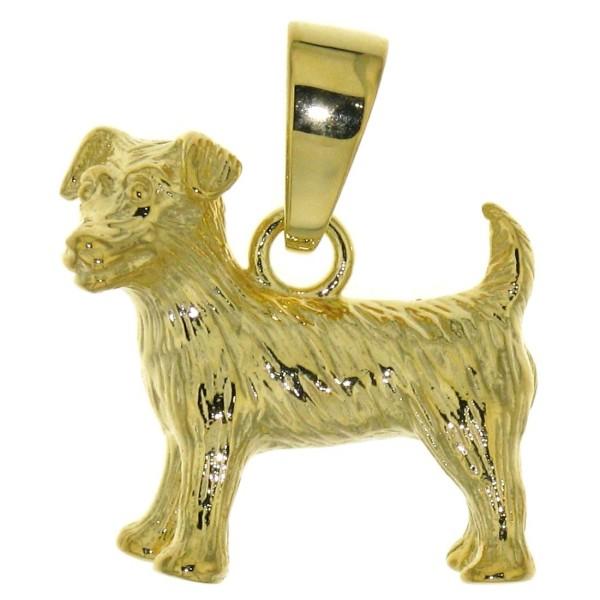 Anhänger Jack-Russel-Terrier massiv echt Gold