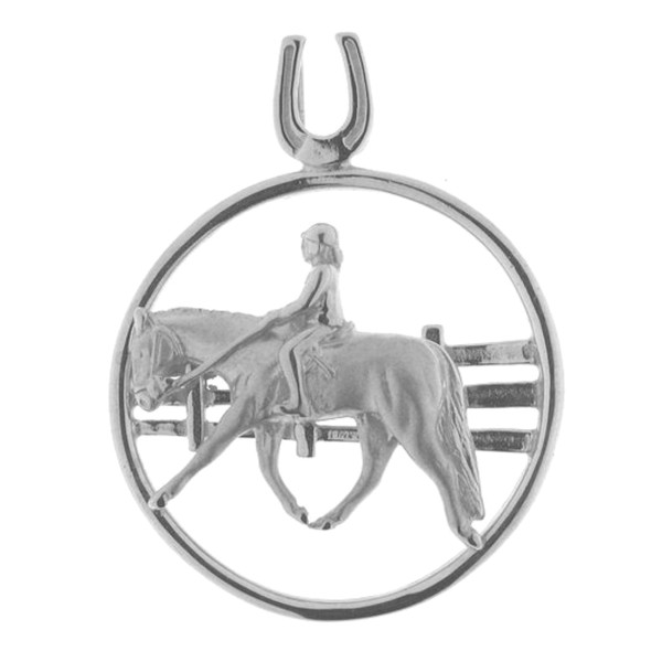 Anhänger Reiter auf Pferd English Pleasure vor Zaun massiv echt Silber mattiert - poliert
