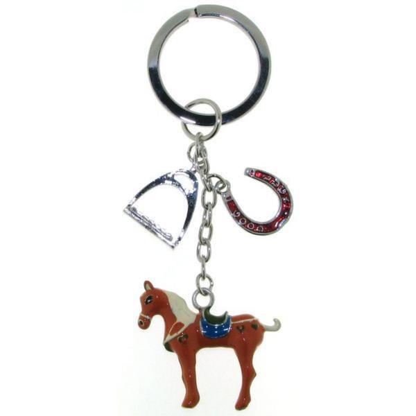 Schlüsselanhänger mit Pferd 3-teilig Metall mit Lack