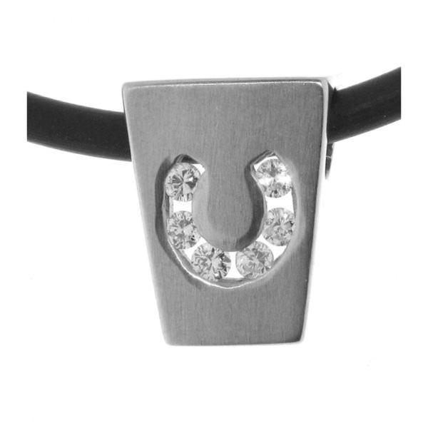 Anhänger modernes Hufeisen echt Silber mattiert mit 6 Zirkoniasteinen