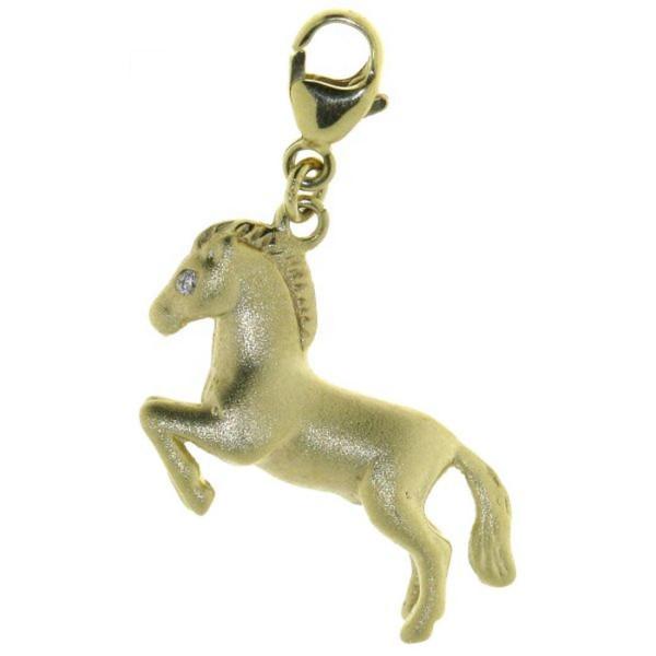 Charm Springendes Pferd mit 2 Diamantaugen massiv echt Gold mattiert
