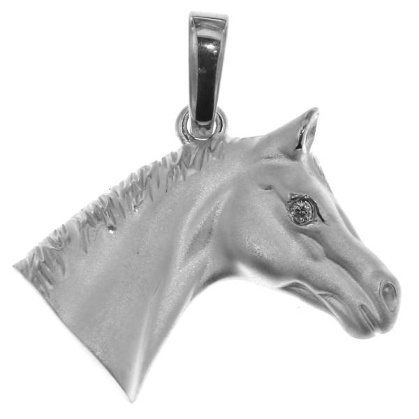 Anhänger edler Pferdekopf schwer massiv echt Silber mattiert mit Zirkonia Auge