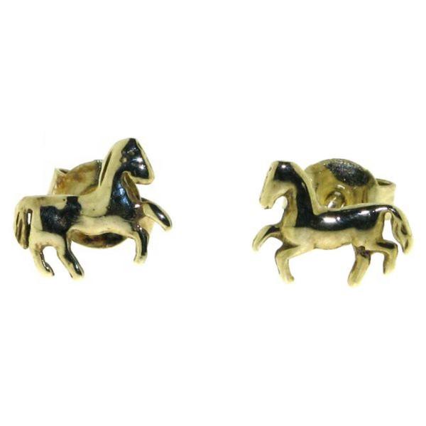 Ohrstecker Pferdchen Gelbgold
