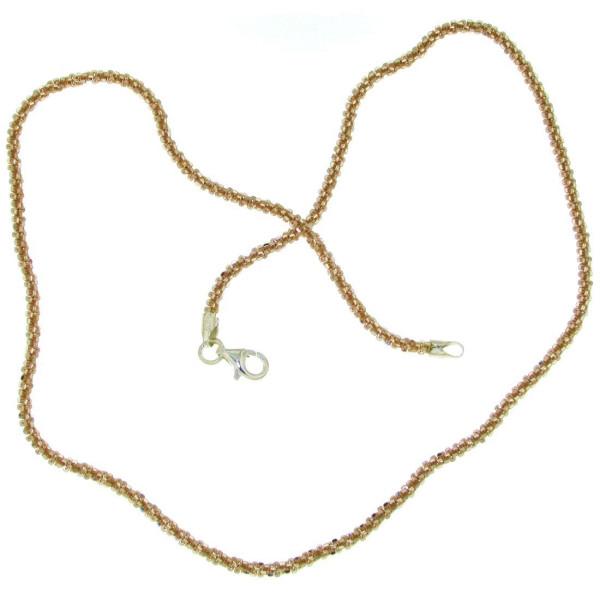 Collierkette gedrehtes criss-cross Design massiv echt Silber rosevergoldet 2 mm stark Rolo Schmuckke