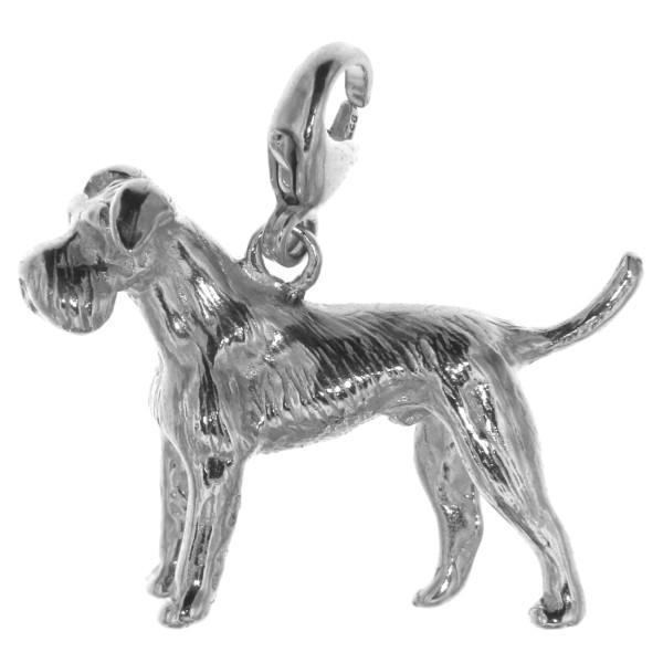 Charm Schnauzer mit unkupierter Rute Hunderasse massiv echt Silber