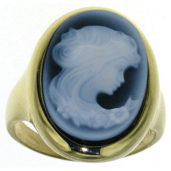 Ring Gemme Achat 18 x 13 mm Frauenkopf mit langem Haar Kamee