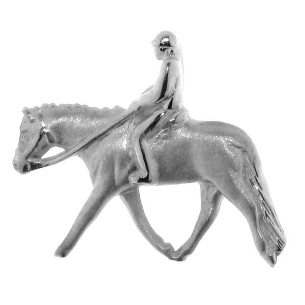 Anhänger Reiter auf Pferd klein English Pleasure massiv echt Silber mattiert - poliert