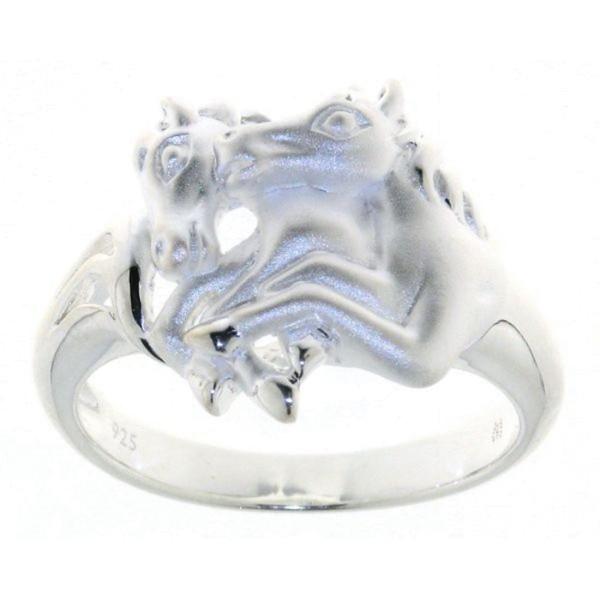 Ring 2 springende Pferde mattiert-poliert echt Silber