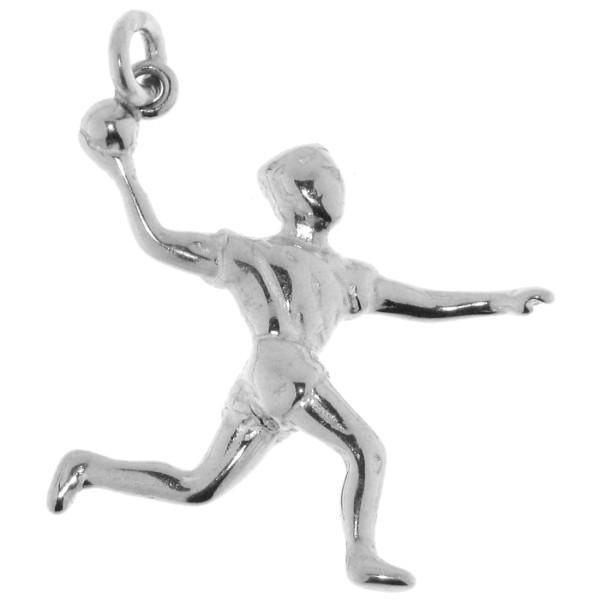 Anhänger Handballspieler*in massiv echt Silber