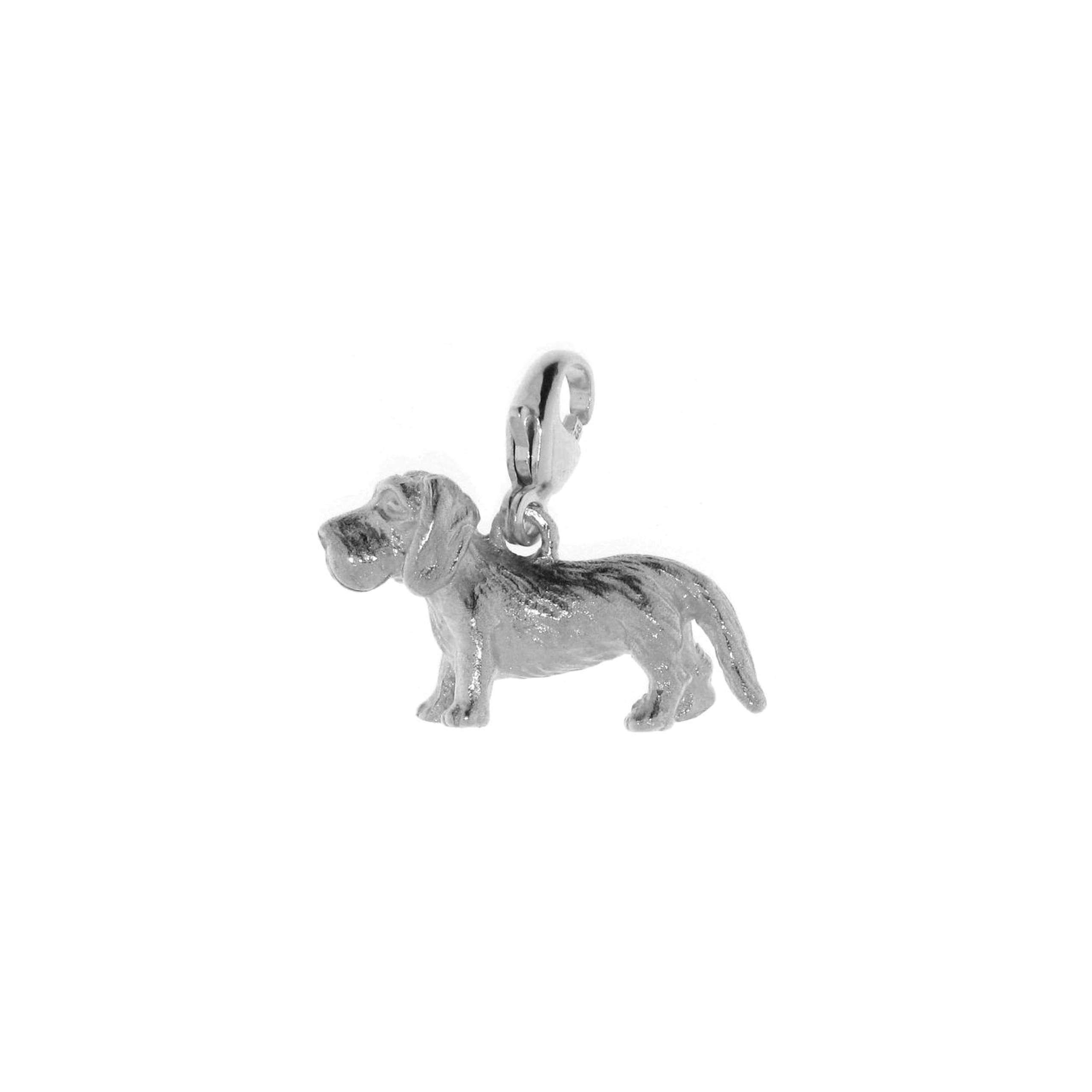 Anhänger Hund Dackel 2 mit Karabinerverschluß aus 925 Sterling Silber Charm