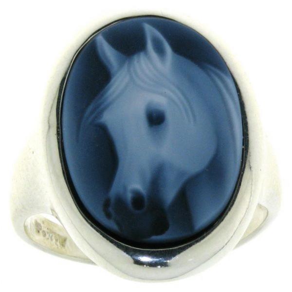Ring Gemme Achat mit Pferdekopf Araber 18 x 13 mm Kamee