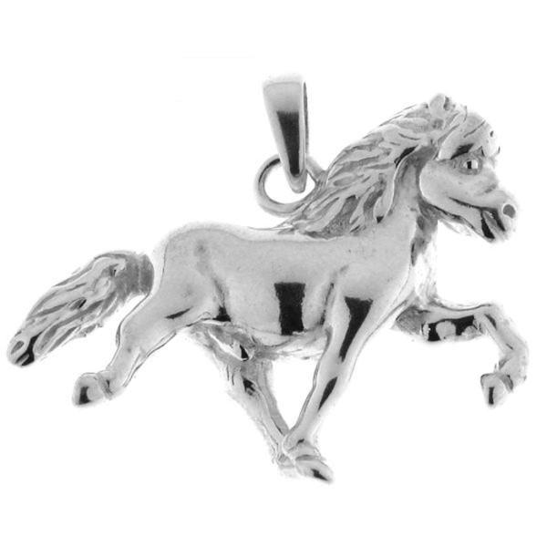Anhänger Island-Pferd Isländer beim Tölten groß massiv echt Silber