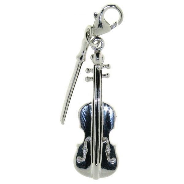 Charm Violine mit Bogen Geige Musikinstrument massiv echt Silber