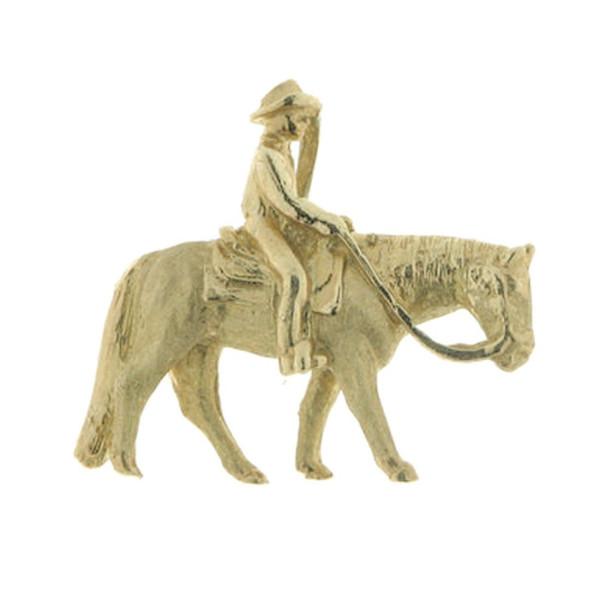 Anhänger Pferd mit Reiter Western Pleasure mattiert - poliert