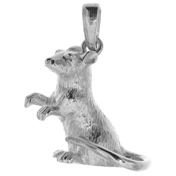 Anhänger Ratte schwer massiv echt Silber Tier und chinesisches Sternzeichen