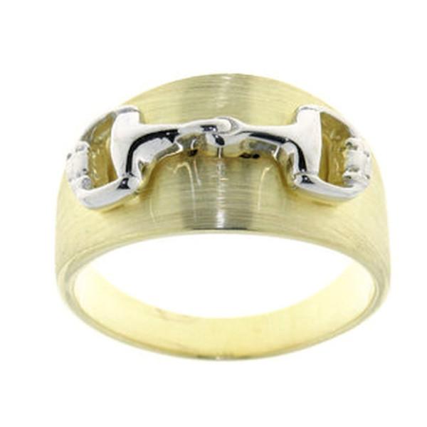 Ring Gelbgold mattiert mit Trensengebiss poliert rhodiniert - bicolor