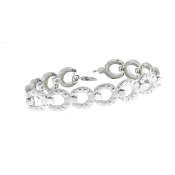Armband aus 14 Hufeisen - Hufeisenarmband - echt Silber mattiert-poliert