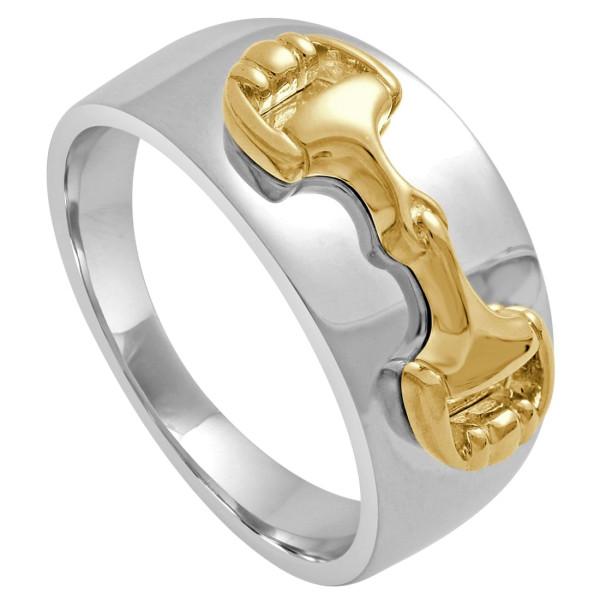 Ring poliert mit aufgesetztem Trensengebiß massiv echt Silber bicolor
