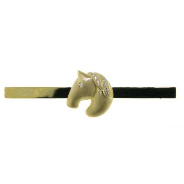 Plastronnadel moderner Pferdekopf mit Zirkoniamähne echt Silber goldplattiert