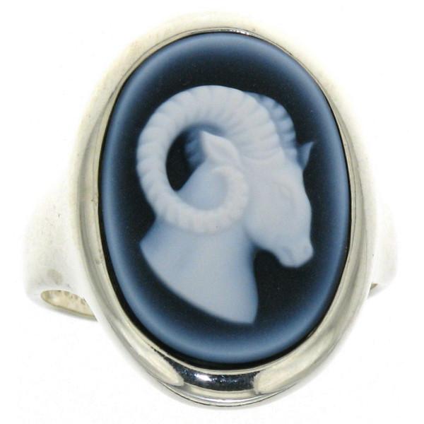 Ring Gemme Achat 18 x 13 mm Sternzeichen Widder Kamee