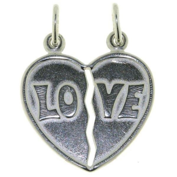 Anhänger Herz mit Love - Herzanhänger für Paare massiv echt Silber