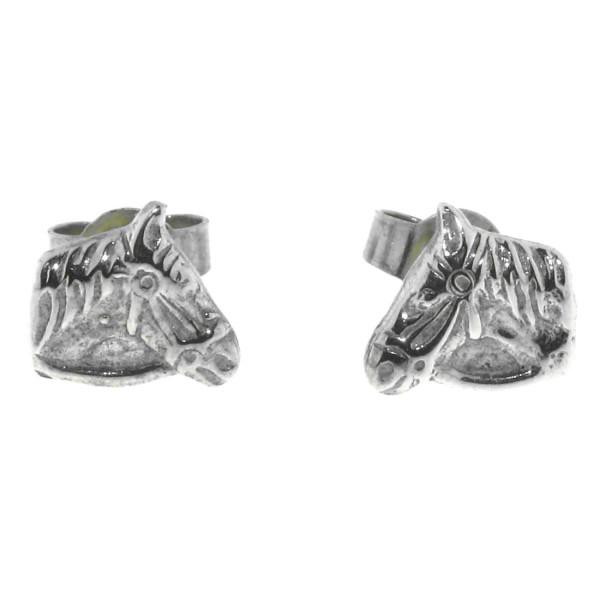 Ohrstecker Pferdeköpfchen mit Zügel massiv echt Silber