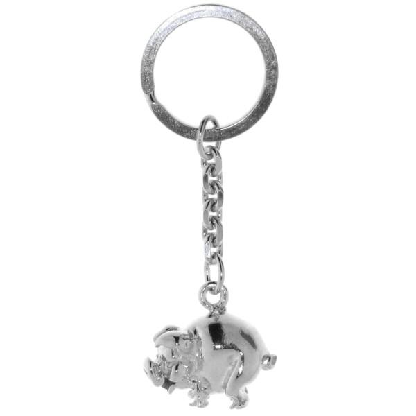 Schlüsselanhänger Schwein Schweinchen Ferkel schwer massiv echt Silber