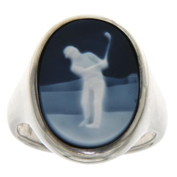 Ring Gemme Achat mit Golfmotiv Golfsport 18 x 13 mm Kamee