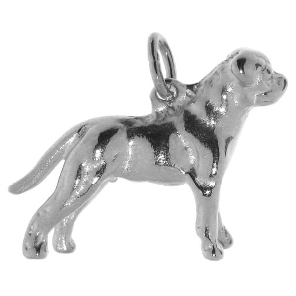 Anhänger Rottweiler mit unkupierter Rute Hunderasse massiv echt Silber