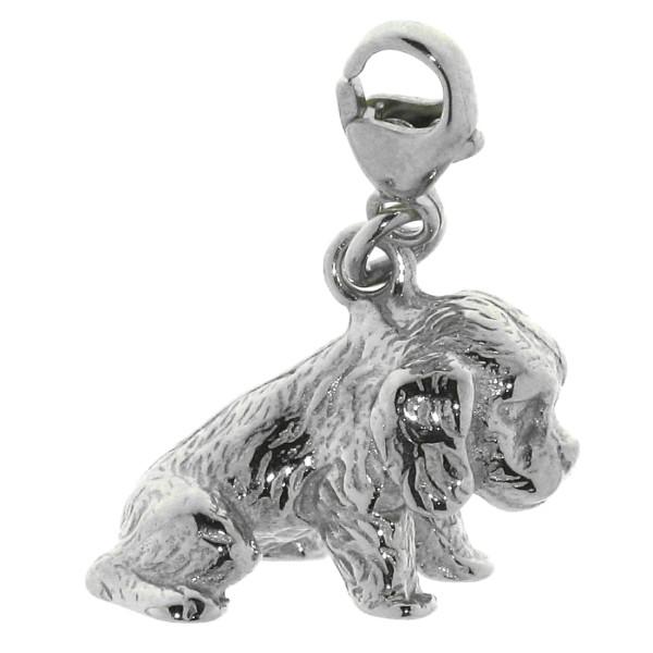 Charm Cocker Spaniel Welpe massiv echt Silber
