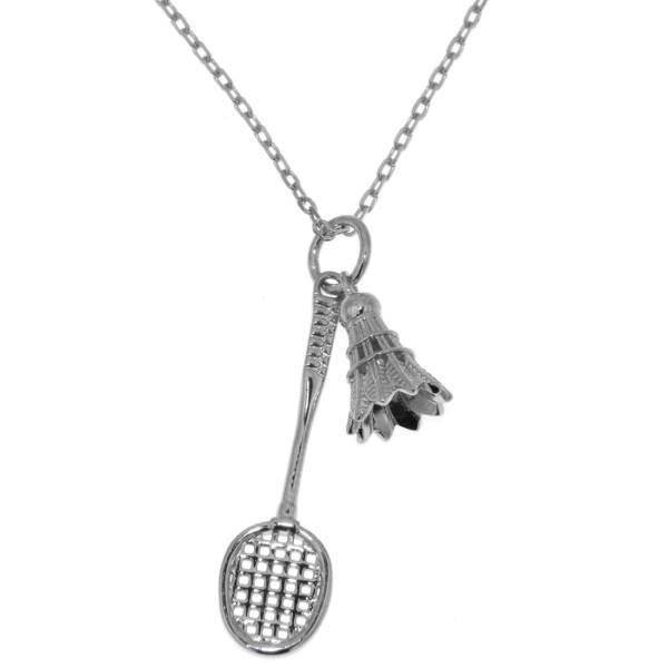 Anhänger Badminton Federball mit Federball-Schläger massiv echt Silber mit Kette