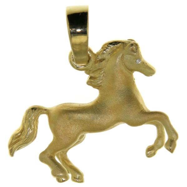 Anhänger Pferd massiv Echtgold mattiert - poliert mit 2 Diamantaugen