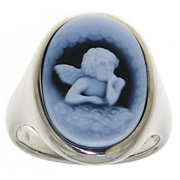 Ring Gemme Achat mit Schutzengel 18 x 13 mm Kamee