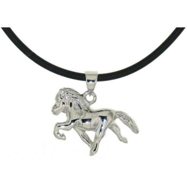 Anhänger Isländer Island-Pferd beim Tölt massiv echt Silber mit Kautschuk-Kette - Sonderpreis