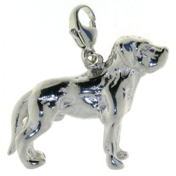 Charm Labrador mit unkupierter Rute massiv echt Silber