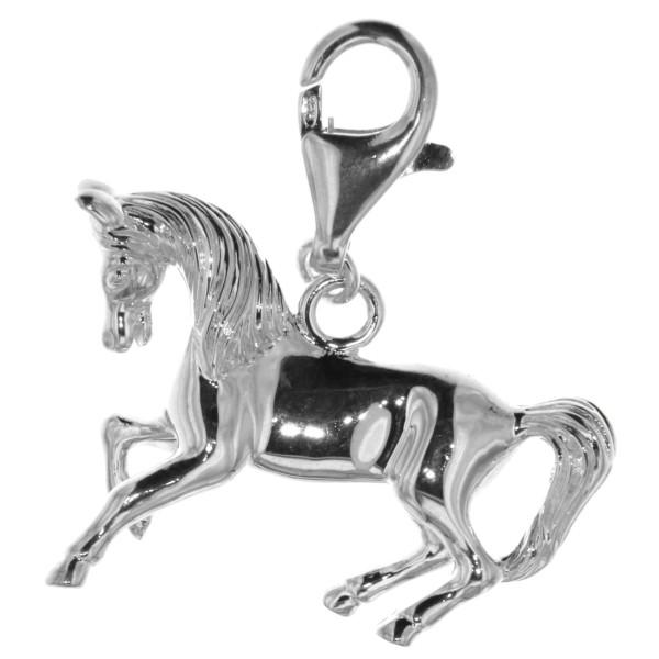 Anhänger galoppierendes Pferd mit Karabiner schwer massiv echt Silber