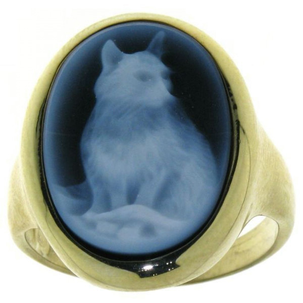 Ring Gemme Achat Katze Kater 18 x 13 mm Kamee