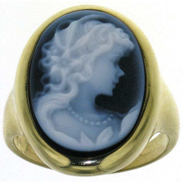 Ring Gemme Achat 18 x 13 mm Frauenkopf mit lockigem Haar Kamee