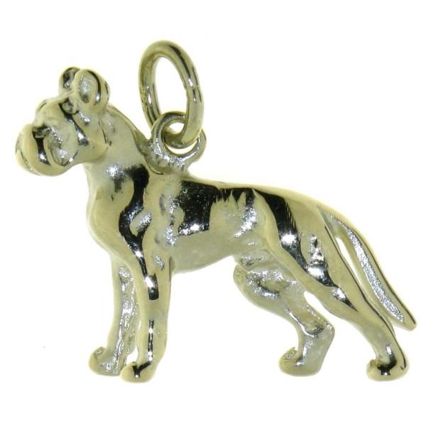 Anhänger Boxer Hunderasse mit unkupierter Rute massiv echt Gold