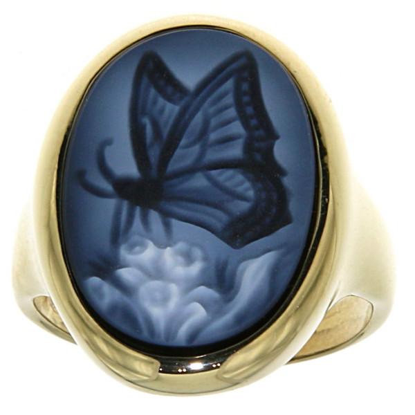 Ring Gemme Achat Schmetterling 18 x 13 mm Kamee