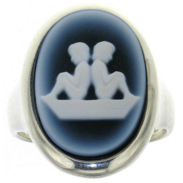 Ring Gemme Achat 18 x 13 mm Sternzeichen Zwilling Kamee