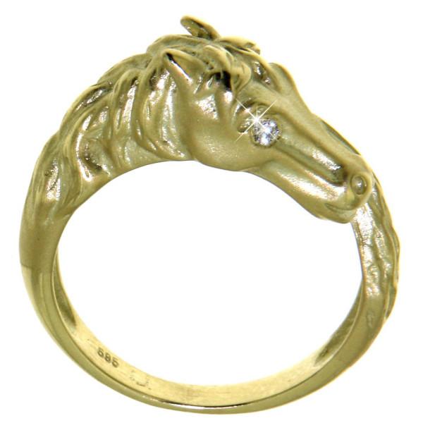 Ring Pferdekopf mattiert-poliert am Schweif mit Diamantaugen